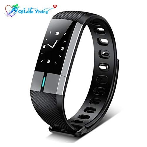 QILade Yzcing Fitness Tracker, Smart Armband mit Herzfrequenz Monitoring Blutdruckmessgerät, Smart Uhr Schrittzähler Aktivität Sports Tracker Bluetooth für Android & iOS,Black