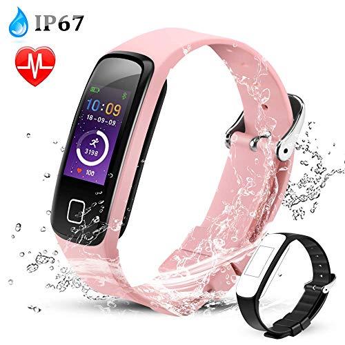Fitness Tracker, Wasserdicht Fitness Smart Armband Uhr mit Herzfrequenzmesser, Schrittzähler Fitness Uhr Pulsmesser Schlafmonitor Kalorienzähler, Pulsmesser, Rosa von AGPTEK