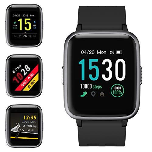 Smartwatch, Fitness Armband Tracker Voller Touchscreen 5ATM Wasserdicht Smart Watch Intelligente Aktivitäts Uhr Sportuhr, Damen Herren Pulsmesser Schlafmonitor SMS Beachten Armbanduhr für Android iOS