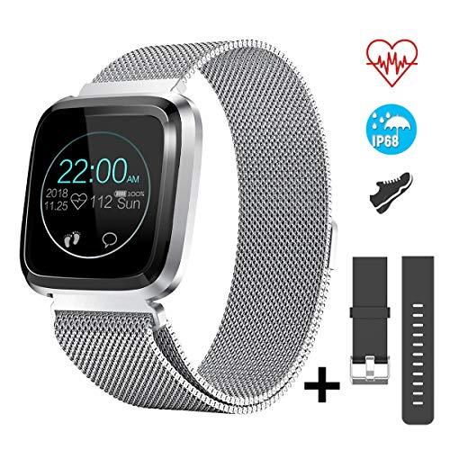 CatShin Fitnessuhr Smartwatch mit Herzfrequenzmessung Wasserdicht IP68 Fitness Armbanduhr 1,3 Zoll Farbbildschirm Fitness Tracker,Aktivitätstracker Pulsuhren,Schrittzähler für Damen Herren (Silber)