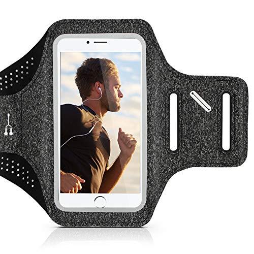 CLM-Tech Sport-Armband für Handys, Fitness Armband-Tasche Hülle universal für Smartphones mit 3-5.5 Zoll Bildschirmen, inklusive Karten, Schlüssel und Kopfhörer-Kabel Fächern, grau schwarz