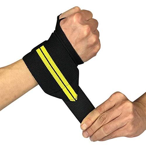 XYQY Wrist Wraps Gewichtheben Wrist Wraps Daumenstütze Straps Gym Wicklung Handgelenk Armschienen Fitness Sport Armband HandbänderSchwarz mit Gelb