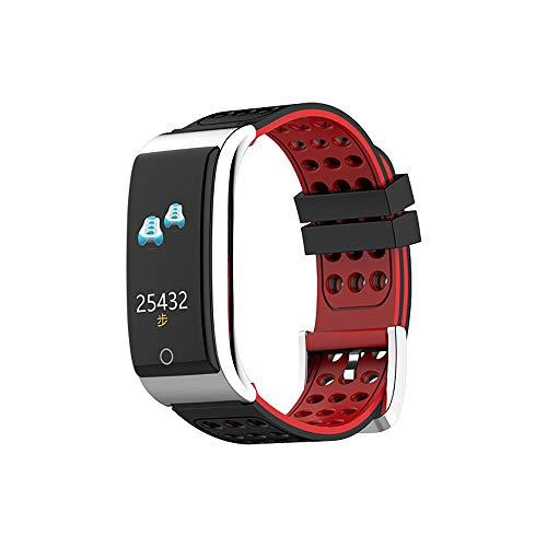 LWPCP Fitness-Tracker, 0.96 Touch-Großbild-EKG-Armband, EKG + PPG, Herzfrequenz, Blutdruck, Schlafüberwachung, Sportschrittzähler, Smart-Uhr,Red