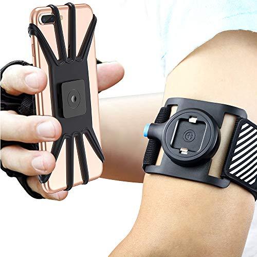 Bovon Sport Armband Abnehmbare Handytasche fürs Oberarm, Sportarmband für alle 4.7-6.5 Zoll Smartphones, Open Face für Touch Screen Control, Joggen Handy Armband für Laufen Radfahren Wandern (Schwarz)