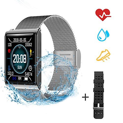 Fitness Armband Pulsmesser Wasserdicht IP67 Fitness Tracker Farbbildschirm mit GPS Aktivitätstracker Pulsuhren Smartwatch Schrittzähler Kompatibel mit iOS und Android + 1 Replaceable Watch Strap