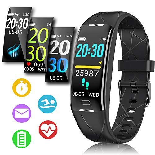 Fitness Armband, Sportuhren Herren Damen, Fitness Tracker mit Stoppuhr Smartwatch Wasserdicht IP68 Aktivitätstracker GPS mit Pulsmesser Schrittzähler 0,96 Zoll Farbbildschirm für Kinder Android IOS