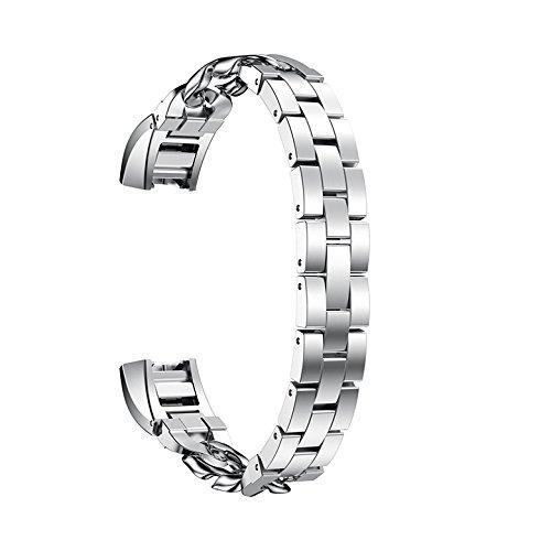 Fitbit Alta Armband, AISPORTS Fitbit Alta HR Uhrenarmband, Edelstahl, Cowboy-Ketten-Design, Smart-Watch-Armband, Ersatzarmband für Fitbit Alta/Fitbit Alta HR Fitness-Zubehör Silber
