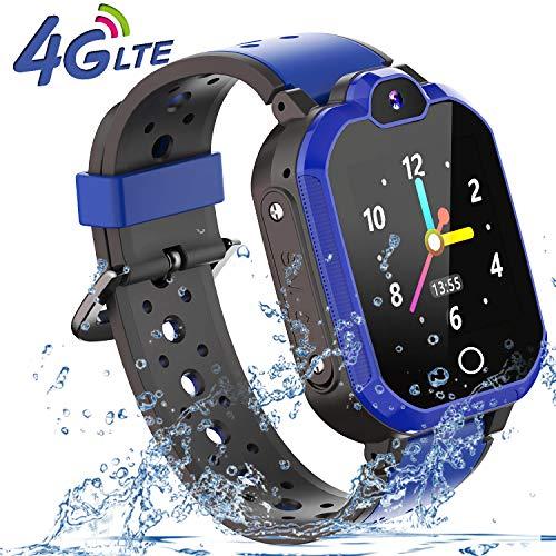 4G Videoanruf GPS Smartwatch Kinder - GPS Armband Wasserdicht Uhr Kinder Smart Watch Geschenke für Mädchen Junge, Kinder Armbanduhr mit SOS Telefon Anruf Sprachnachricht Taschenlampe Schrittzähler