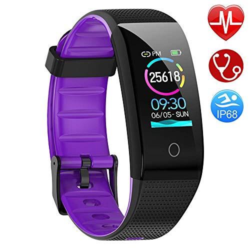 AMOYEE Fitness Armband mit Pulsmesser, Blutdruckmessung Fitness Uhr Wasserdicht IP68 Fitness Tracker mit Pulsuhren Aktivitätstracker Schlafmonitor Schrittzähler Kalorienzähler (Lila)