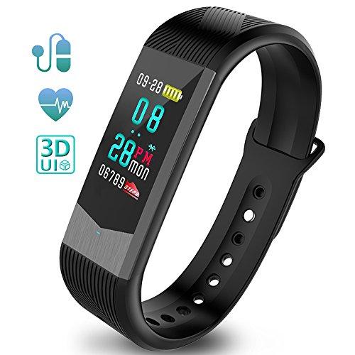 Fitness Tracker Fitness Armband Schrittzähler Uhr Pulsmesser Wasserdicht 3D UI Farbdisplay mit Schlaf-Monitor Kalorienzähler GPS-Routenverfolgung Blutdruckmonitor Notifications Anrufe SMS Reminder