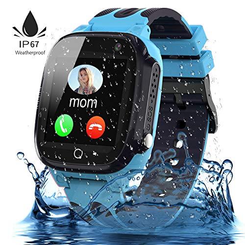 Jaybest Kinder Smartwatch,Wasserdichte Smart Watch für Kinder,kids Smart Watch Phone mit LBS Tracker SOS Voice Chat Kamera Spiel für Jungen und Mädchen, Geburtstagsgeschenk (blau)