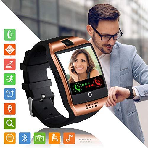 Smartwatch Fitness Armband Uhr mit Schrittzähler Touchscreen Kamera SIM-Karte Slot Fitness Tracker Fitnessuhr Smart Watch für Samsung Huawei Xiaomi LG Android Phones für Damen Herren Kinder (Gold)