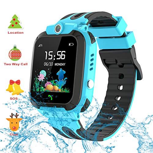 Smartwatch Kinder Wasserdicht Telefon Uhr, Vannico Kids Smartwatch für Jungen Mädchen Kinder Smartwatch mit SIM SOS Anruf (Hellblau)
