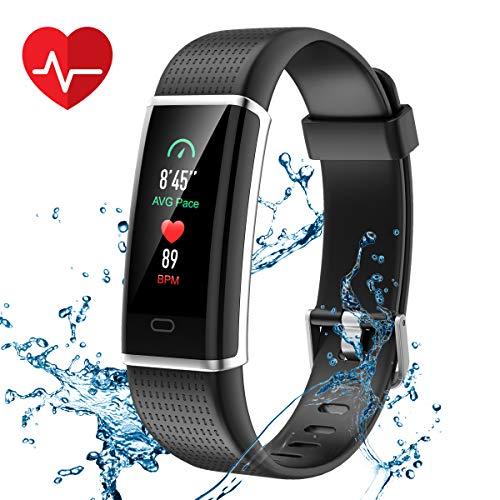 CHEREEKI Fitness Armband, Fitness Tracker Farbbildschirm mit Pulsmesser, Aktivitätstracker IP68 Wasserdicht 0,96 Zoll Schrittzähler Uhr Smart Watch Anruf SMS Beachten für Herren Damen