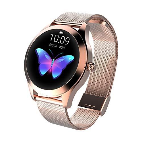 CUEYU Smart Watch KW10,Runder Touchscreen IP68 wasserdichte Smartwatch für Frauen, Fitness Tracker mit Herzfrequenz- und Schlaf-Pedometer,Armband Für IOS/Android (Gold)