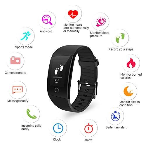 Mbuynow Bluetooth Aktivität Fitnessuhr, Fitness Tracker mit Blutdruckmessung IP67 Wasserdicht Fitness Tracker Smartwatch mit Schrittzähler Kalorienzähler kompatibel mit IOS Andriod