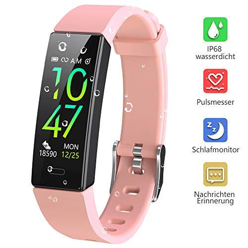 Dwfit Fitness Uhr mit Pulsmesser,Wasserdicht Fitness Armband Aktivitätstracker Fitness Tracker Schrittzähler Uhr Sportuhr für iOS Android Handy(Rosa)