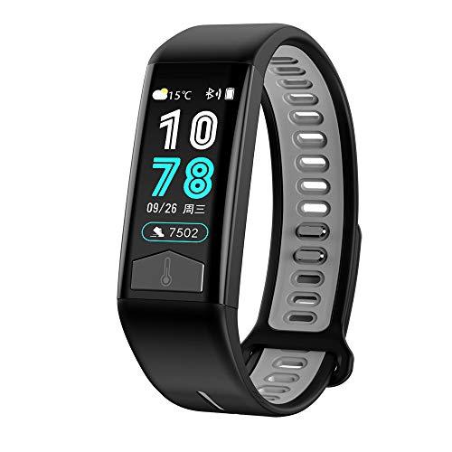 MROSW T02 Smart Watch EKG-Body Heat-Puls-Monitor Smartwatch Sport Fitness IP68 Wasserdicht Intelligente Armband,Grau