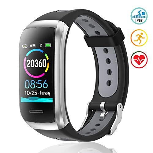 TagoBee Fitness Tracker TB14 IP68 Wasserdichtes Smart Band 1.14'' LCD Farbbildschirm Fitness Armband mit Pulsmesser kompatibel mit Android und iOS Silver