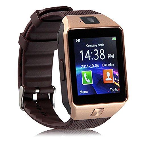 Bluetooth Smartwatch, Fitness Armbanduhr mit SIM Card Slot GSM Sport Watch Activity Tracker mit Kamera Pedometer Smart Gesundheit Armbanduhr Schlaftracker Handy für Android (Gold)