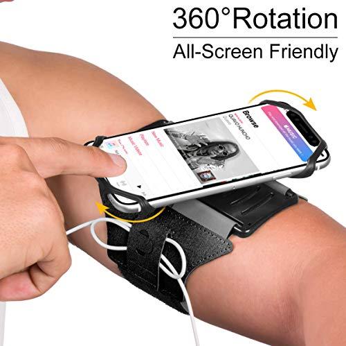 VUP Running Armband, 180° drehbar, Universal Handy Halterung, Kompatibel mit alle 4-6.5 Zoll Smartphones- Schwarz